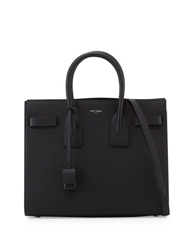 Sac de Jour Small Grain Leather Tote Bag, Black