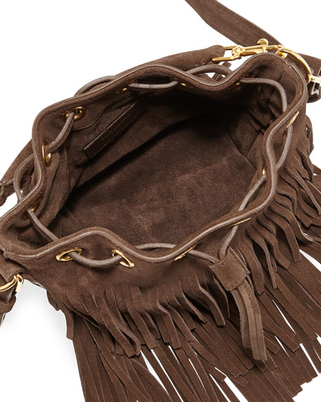 6f1fa77037 Saint Laurent Emmanuelle Small Suede Fringe Bucket Bag, Dark Brown | Neiman  Marcus