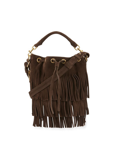 Emmanuelle Small Suede Fringe Bucket Bag, Dark Brown