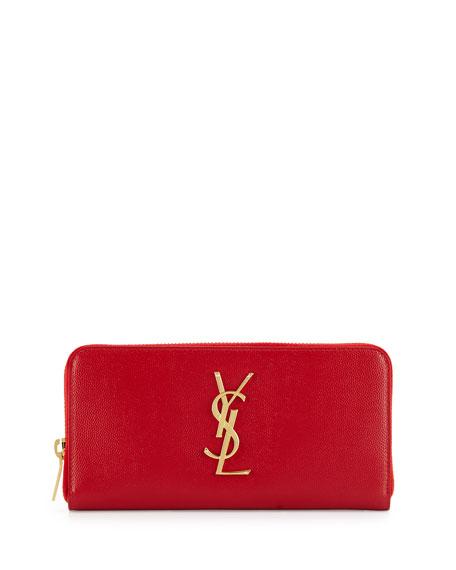 Monogram Zip-Around Wallet, Red