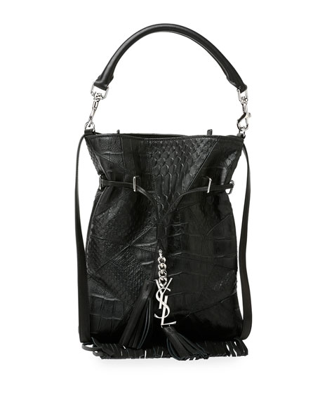 Monogram Croc-Embossed Tassel Fringe Bucket Bag