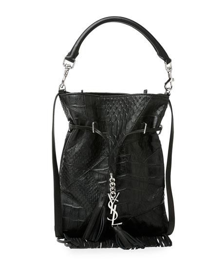 Monogram Croc-Embossed Tassel Fringe Bucket Bag