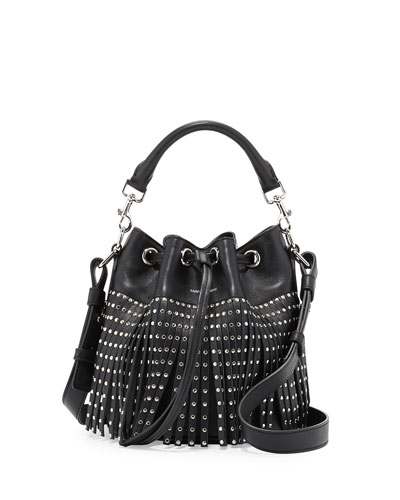 Emmanuel Small Star-Studded Fringe Bucket Bag, Black