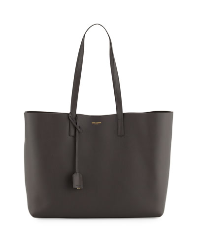 Large East-West Leather Shopper Bag, Dark Gray