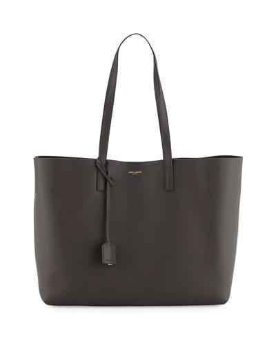 Large East-West Leather Shopper Bag, Dark Gray