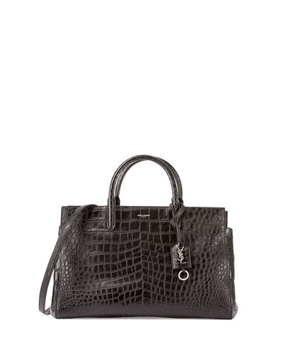 Monogramme Croc-Stamped East-West Tote Bag