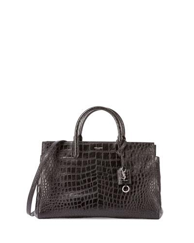Cabas Rive Gauche Croc-Stamped Tote Bag