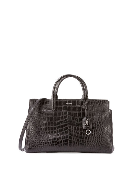Saint Laurent Cabas Rive Gauche Croc-Stamped Tote Bag