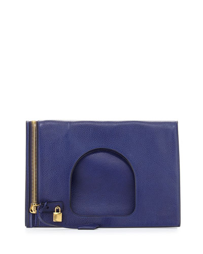 Alix Leather Padlock & Zip Fold-Over Bag, Cobalt