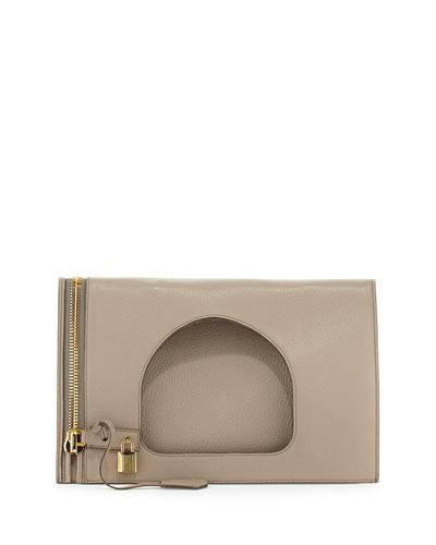 Alix Small Calfskin Hobo Bag, Warm Taupe