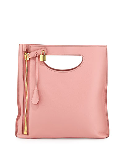 Alix Small Calfskin Shopper Tote Bag, Wild Rose