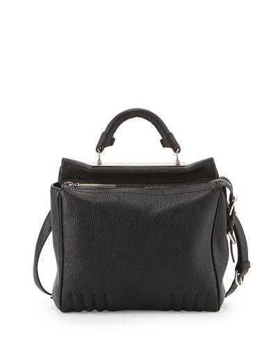 Ryder Small Leather Satchel Bag, Burgundy, Black
