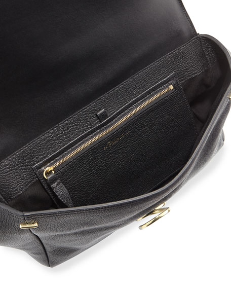 Alix Leather Messenger Bag, Black