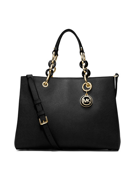 Cynthia Medium Saffiano Satchel Bag Black