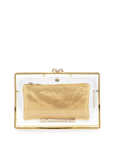 Stand Up Pandora Clutch Bag, Clear