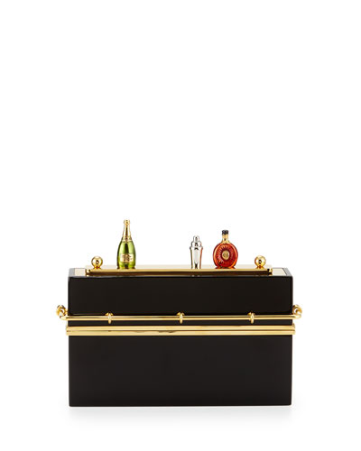 Cocktail Hour Clutch Bag, Black/Gold