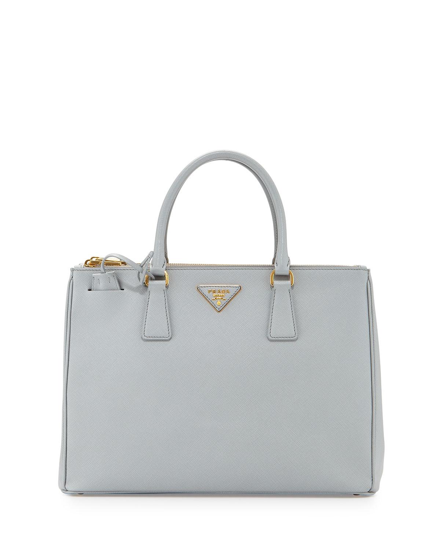292fc594792e30 Prada Saffiano Lux Double-Zip Tote Bag, Light Gray (Granito ...