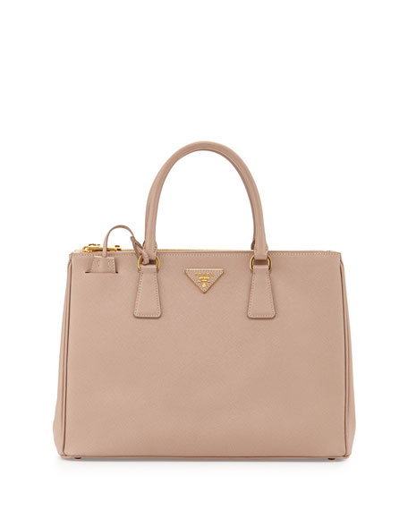 Saffiano Lux Double-Zip Tote Bag, Blush (Cammeo)