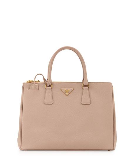 465cd7e98f16 Prada Saffiano Lux Double-Zip Tote Bag, Blush (Cammeo) | Neiman Marcus