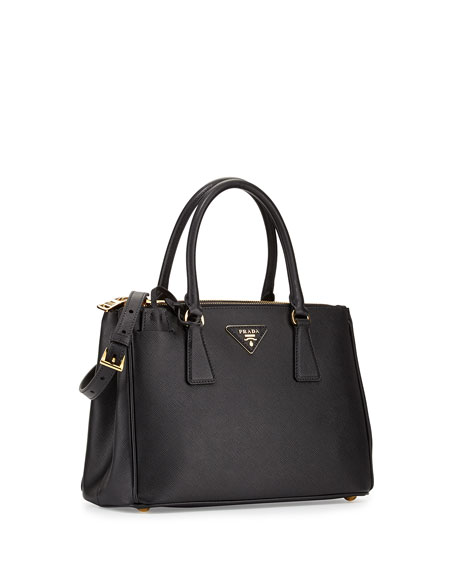 Saffiano Small Lux Double-Zip Tote Bag, Black (Nero)