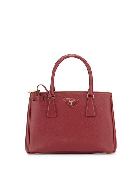 Saffiano Lux Small Double-Zip Tote Bag, Wine (Cerise)