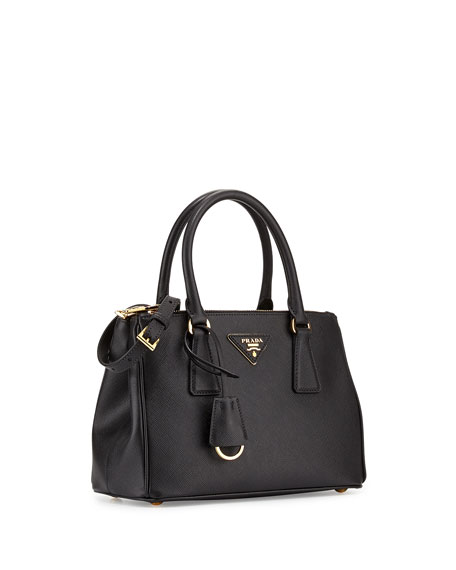 Saffiano Mini Double-Zip Tote Bag, Black (Nero)