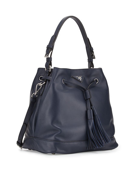 Prada Soft Calf Bucket Bag, Blue (Baltico)