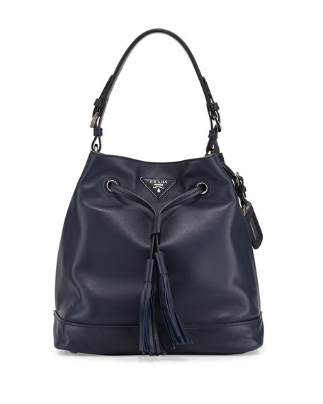 Prada Soft Calf Bucket Bag, Blue (Baltico)