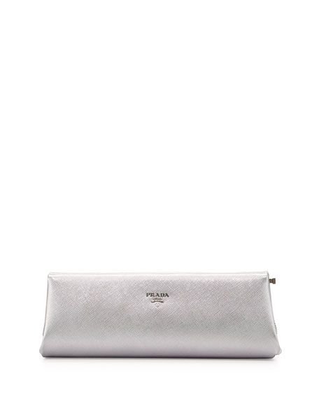 Prada Saffiano East-West Frame Clutch Bag, Silver (Cromo)