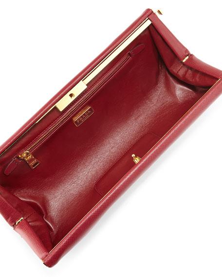 Saffiano East-West Frame Clutch Bag, Wine (Cerise)