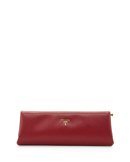 Prada Saffiano East-West Frame Clutch Bag, Wine (Cerise)