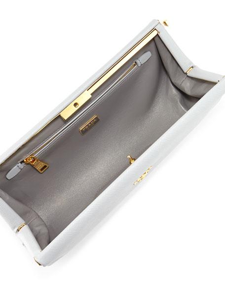 Saffiano East-West Frame Clutch Bag, Light Gray (Granito)
