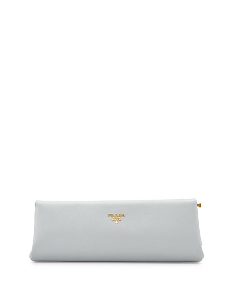 Prada Saffiano East-West Frame Clutch Bag, Light Gray
