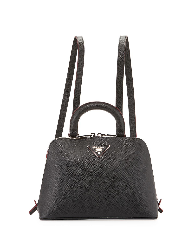 0cd29606c83 Prada Saffiano Lux Promenade Backpack, Black   Neiman Marcus