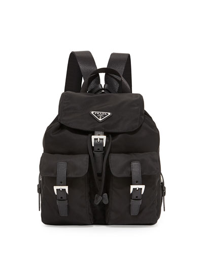 Vela Small Nylon Backpack, Black (Nero)