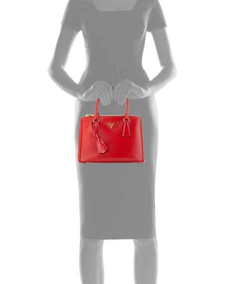 Prada Saffiano Vernice Mini Double-Zip Tote Bag, Red (Rosso)
