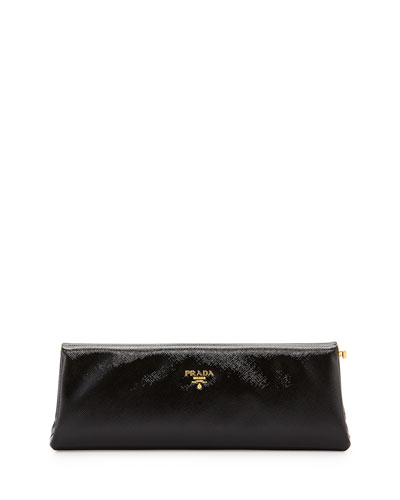 1fdbe6b067 Prada Saffiano Vernice East-West Frame Clutch Bag