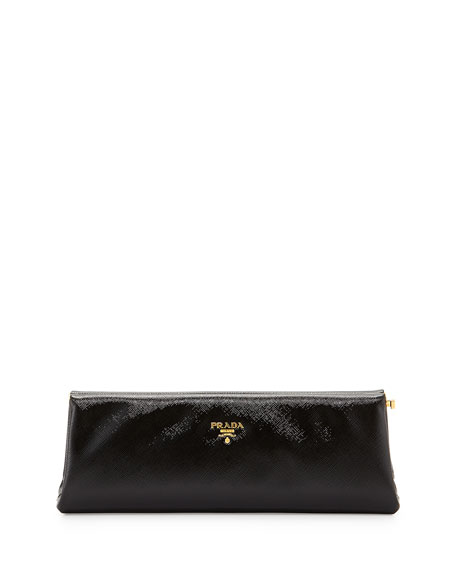 Prada Saffiano Vernice East-West Frame Clutch Bag, Black (Nero)