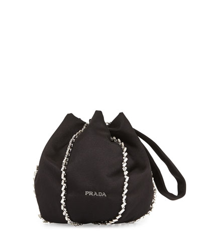 Embroidered Satin Pouch, Black (Nero)