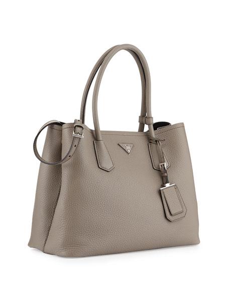 Vitello Daino Medium Double Bag, Gray/Black (Argilla+Nero)