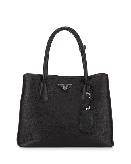 Prada Vitello Daino Small Double Bag, Black/Tan (Nero+Cuoio)