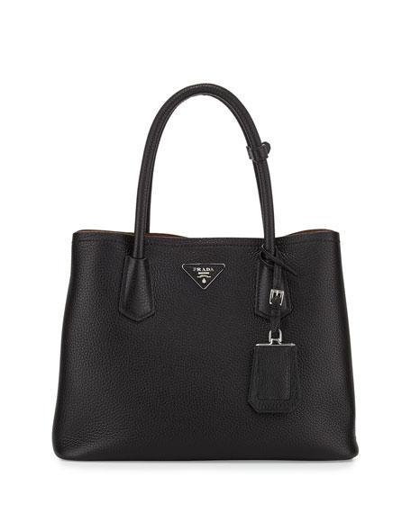 Vitello Daino Small Double Bag, Black/Tan (Nero+Cuoio)