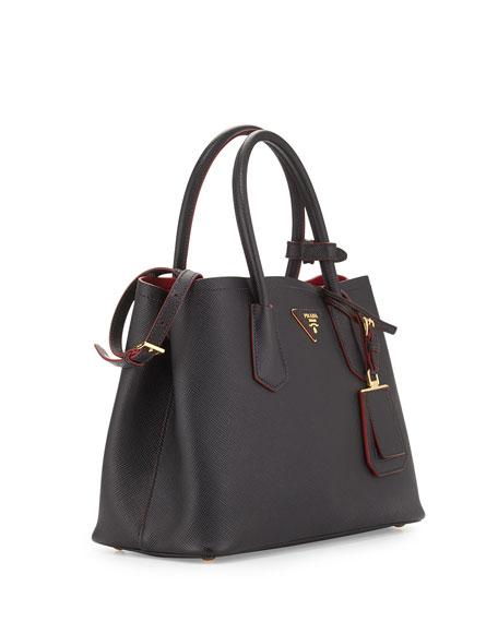 Saffiano Cuir Double Bag Black Red Nero Ciliegia