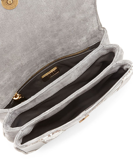 Small Patchwork Chain Crossbody Bag, Gray (Marmo)