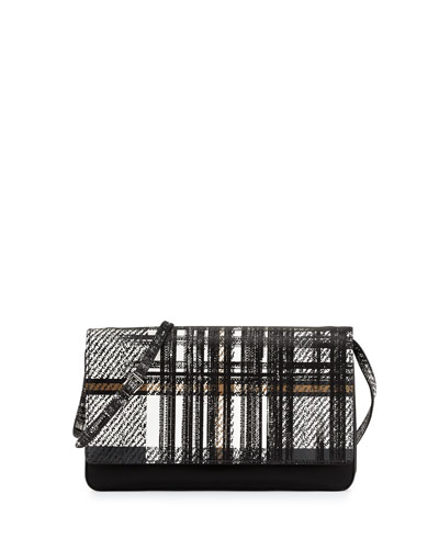 Tessuto and Saffiano Print Tartan Shoulder Bag, White Multi (Bianco)