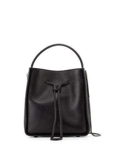 Soleil Small Drawstring Bucket Bag, Black