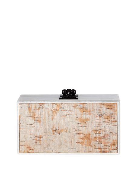 Edie Parker Jean Paneled Cork Box Clutch