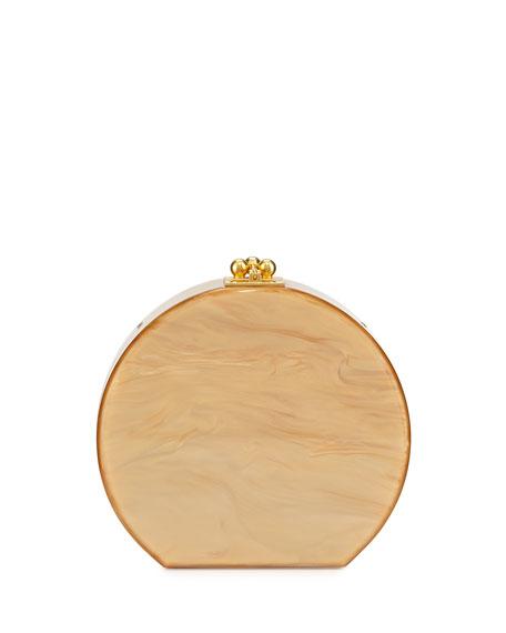 Edie Parker Oscar Half-Moon Acrylic Clutch Bag, Gold Pearlescent