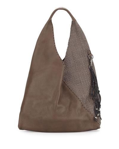 Canotta Smooth/Woven Hobo Bag, Gray
