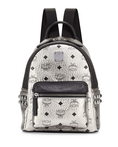 Stark Mini Canvas Backpack, Silver